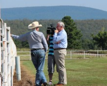 Winfred Burden, left, with Scott Thompson and videographer at the Kerr Ranch